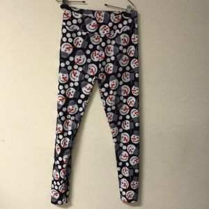 Leggings Snowmen SZ OS gently worn